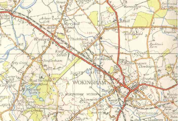 Detail from One-Inch Map from the 1950s, Ordnance Survey, by acknowlegement