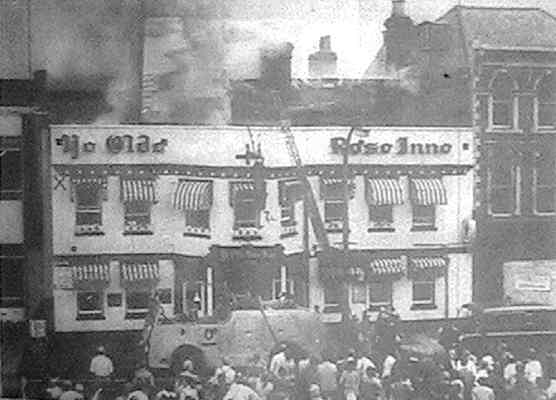 Fire at the Old Rose Inn, Market Place, 1969