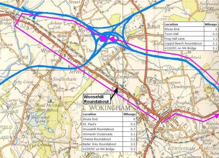 "Distances to M4 from Shute End and Woosehill, shown on 1950s 1"" O.S. Map, by acknowledgement"