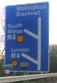 Sign on southbound A329(M) showing M4 slip roads - an extra slip would branch off the 'South Wales' slip road