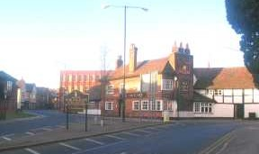 The Ship Inn from London Road, with Peach Street to the left