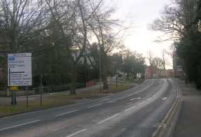 Reading Road immediately to the south of Beeches Manor and the site of the Station Link Road junction